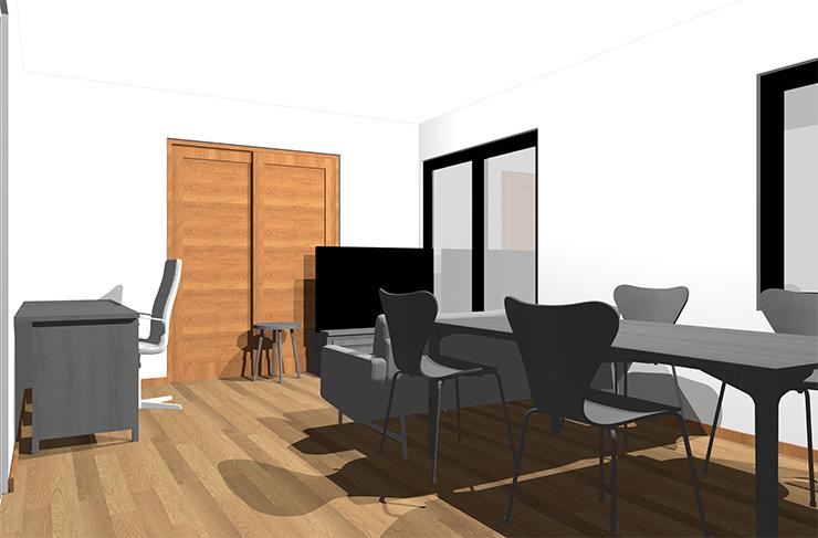 ミディアムブラウンの床とグレーの家具