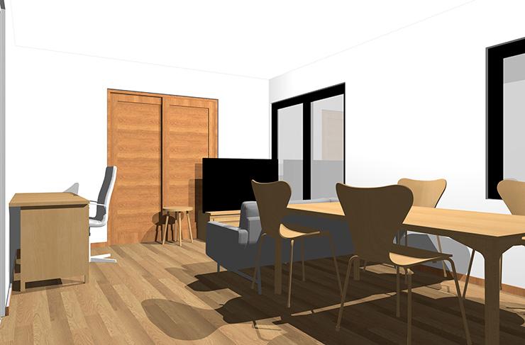 ミディアムブラウンの床とライトブラウンの家具