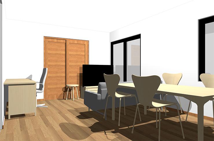 ミディアムブラウンの床とナチュラルブラウンの家具