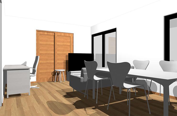 ミディアムブラウンの床とホワイトの家具