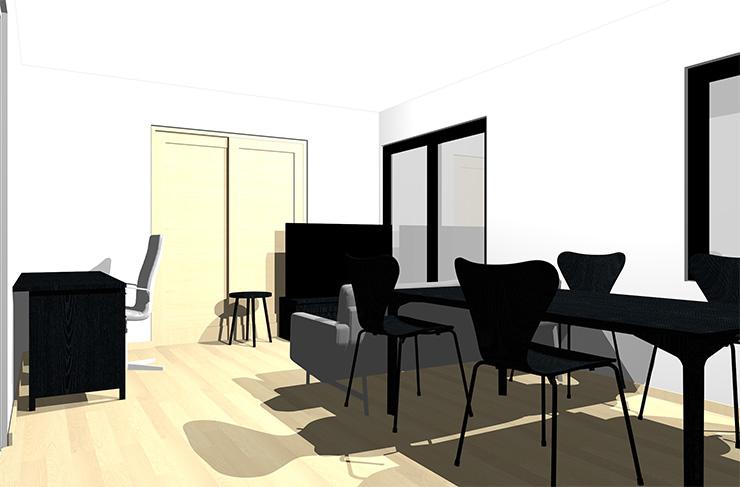 ナチュラルブラウンの床と黒の家具