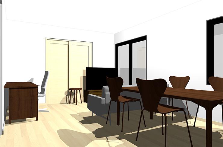 ナチュラルブラウンの床とダークブラウンの家具