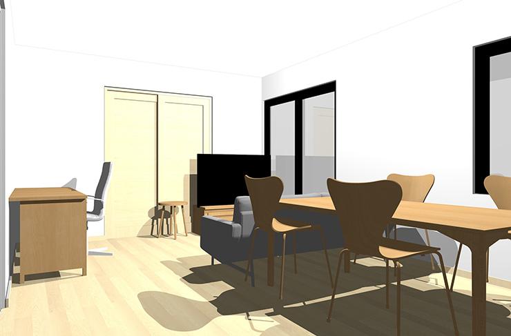 ナチュラルブラウンの床とライトブラウンの家具