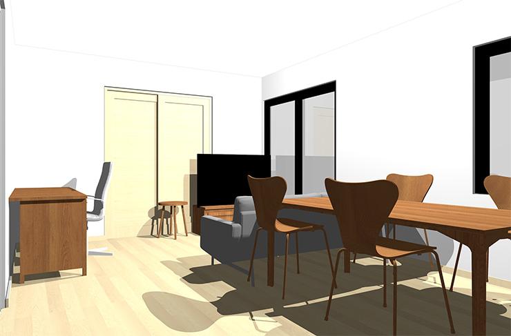 ナチュラルブラウンの床とミディアムブラウンの家具