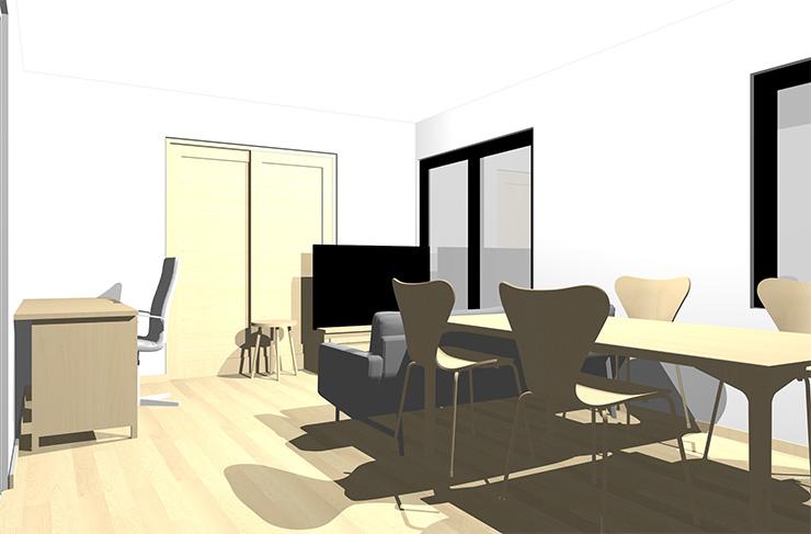 ナチュラルブラウンの床とナチュラルブラウンの家具