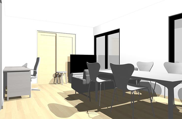 ナチュラルブラウンの床とホワイトの家具