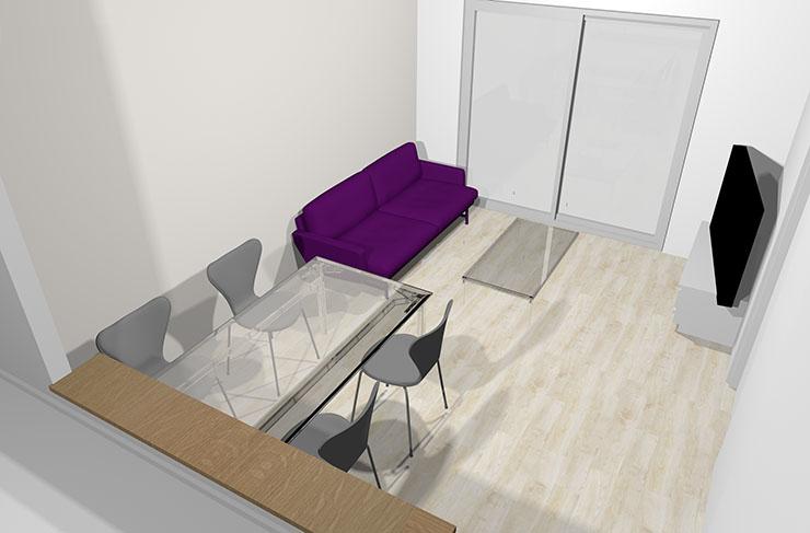 紫のソファ