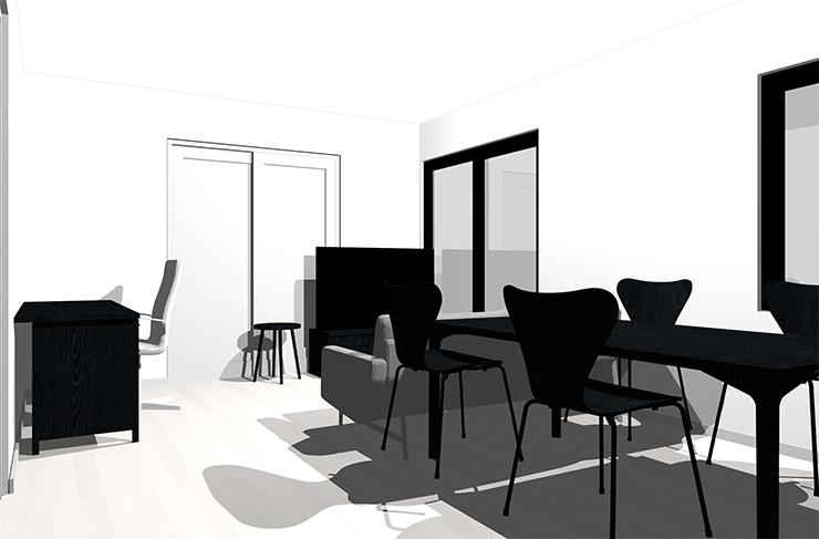 ホワイトの床と黒の家具