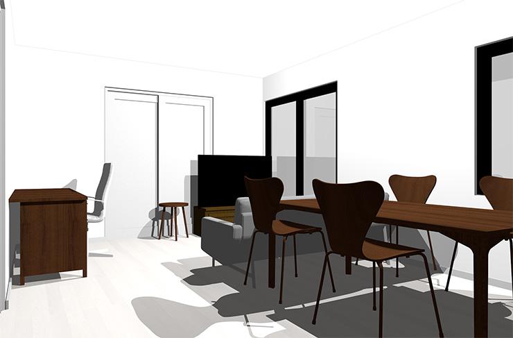 ホワイトの床とダークブラウンの家具
