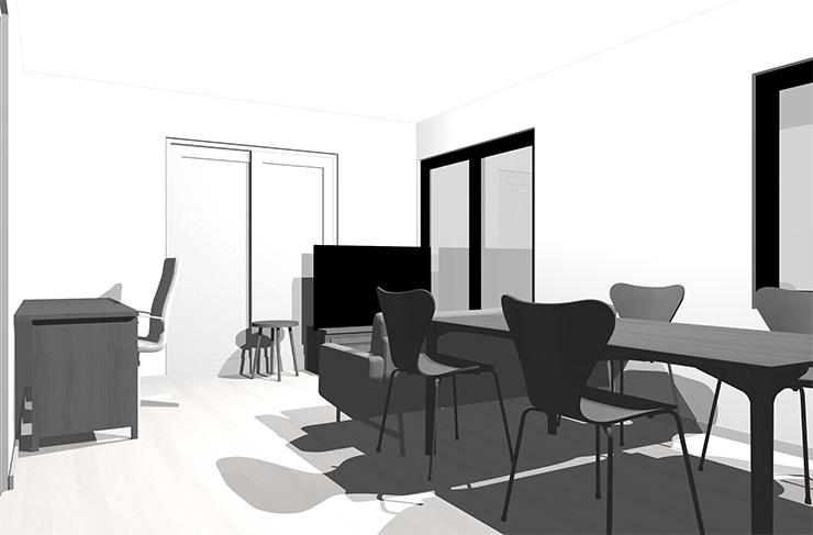 ホワイトの床とグレーの家具