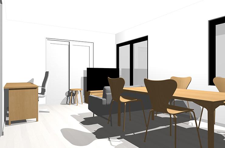 ホワイトの床とライトブラウンの家具