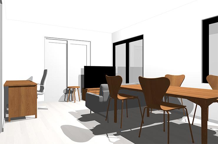 ホワイトの床とミディアムブラウンの家具