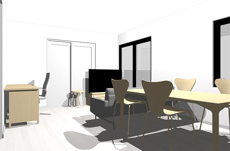 ホワイトの床とナチュラルブラウンの家具