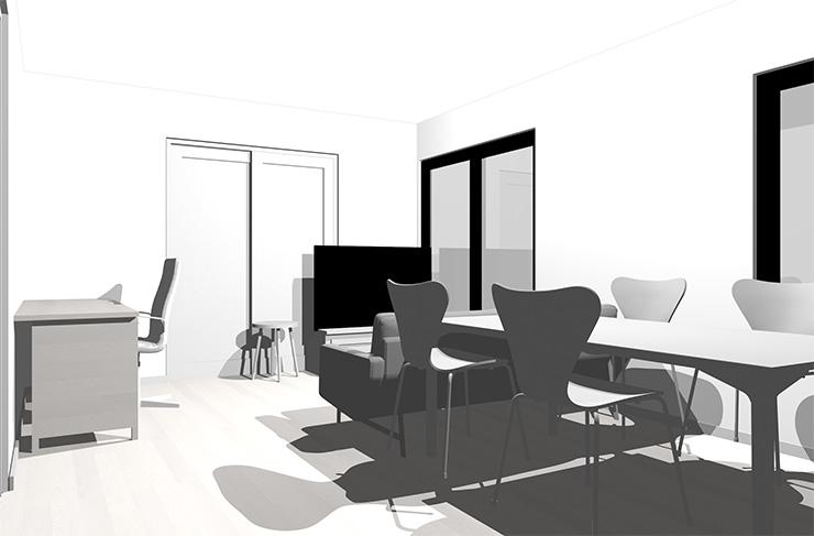 ホワイトの床とホワイトの家具