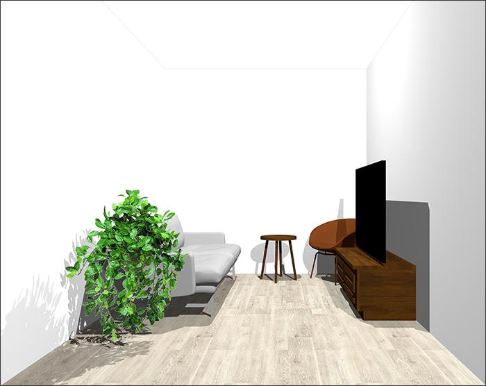 4畳半に2人掛けソファとラウンジチェア②立体パース
