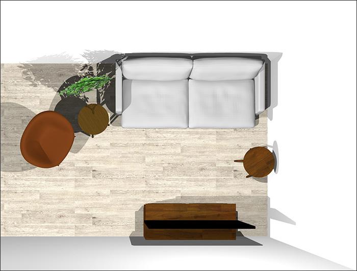 4畳半に2人掛けソファとラウンジチェア平面パース