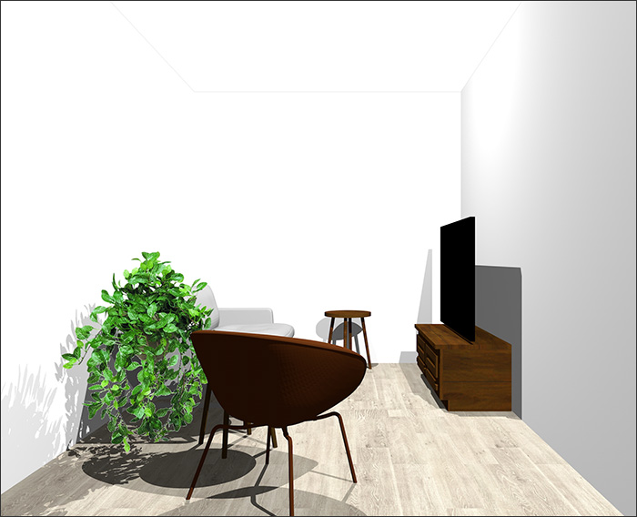 4畳半に2人掛けソファとラウンジチェア立体パース