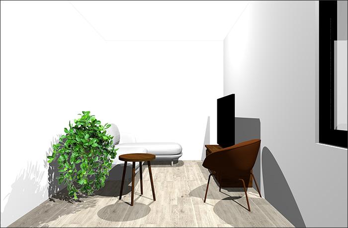 4畳半に寝椅子付きソファとラウンジチェア立体パース
