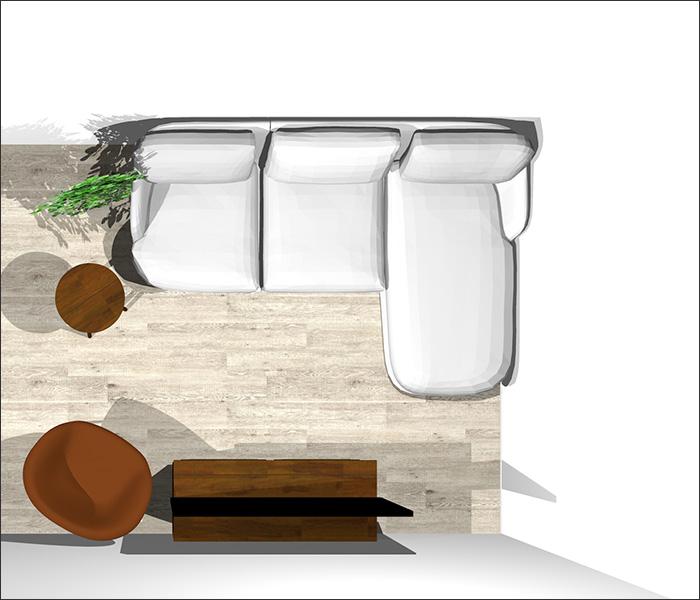 4畳半に寝椅子付きソファとラウンジチェア平面パース