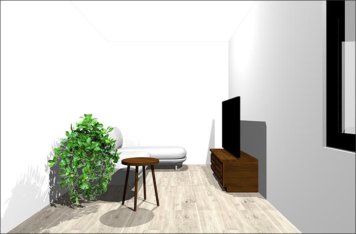 4畳半に寝椅子付きソファ立体パース