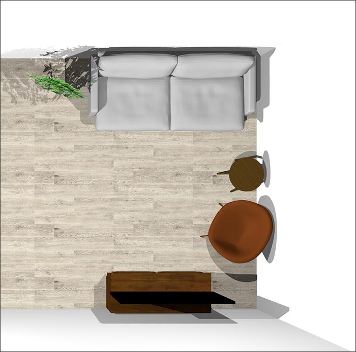 6畳に2人掛けソファとラウンジチェア②平面パース