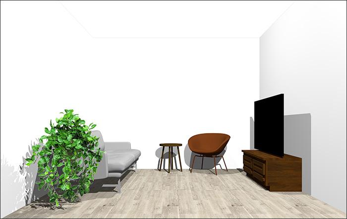 6畳に2人掛けソファとラウンジチェア②立体パース