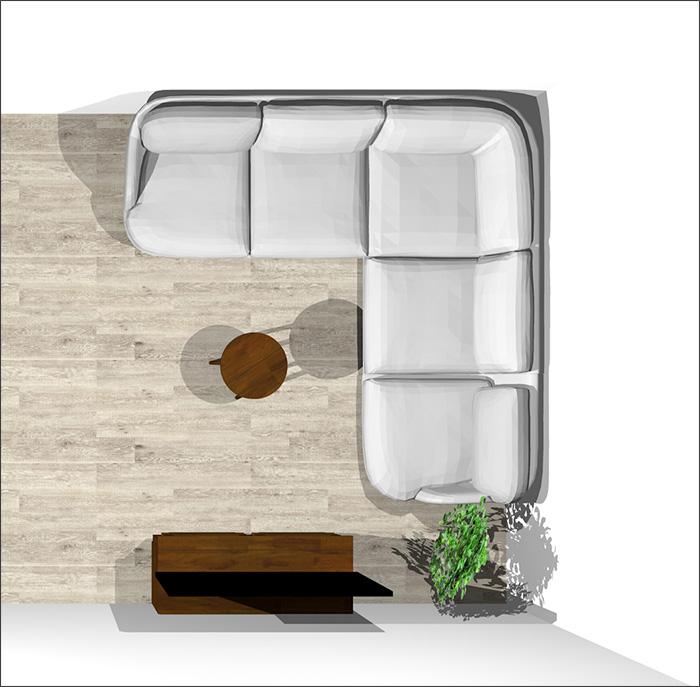 6畳にコーナーソファ平面パース
