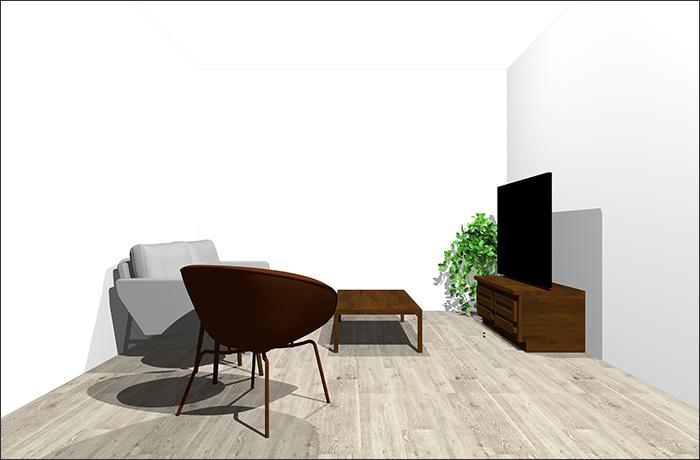 6畳に2人掛けソファとラウンジチェア立体パース