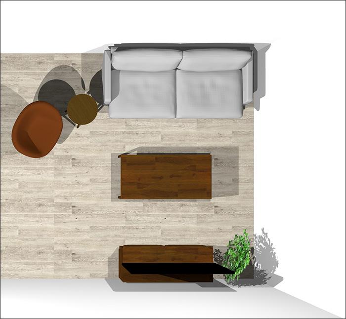 6畳に2人掛けソファとラウンジチェア平面パース