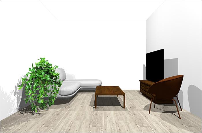6畳に寝椅子付きソファとラウンジチェア立体パース