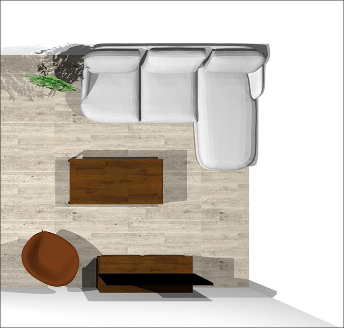 6畳に寝椅子付きソファとラウンジチェア平面パース