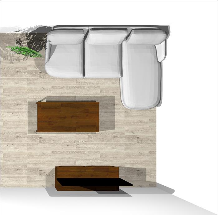 6畳に寝椅子付きソファ平面パース