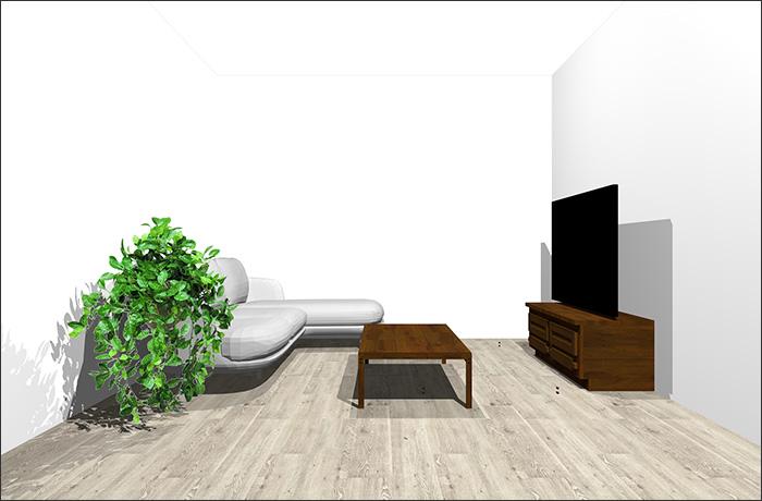 6畳に寝椅子付きソファ立体パース