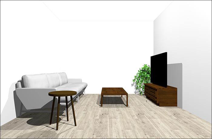 6畳に3人掛けソファ立体パース