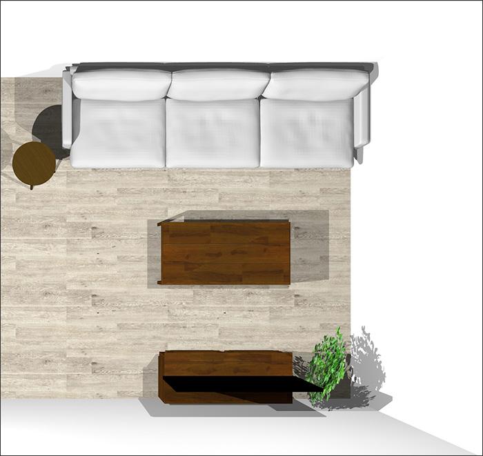 6畳に3人掛けソファ平面パース