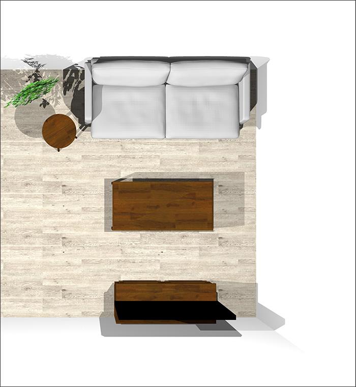 6畳に2人掛けソファ平面パース