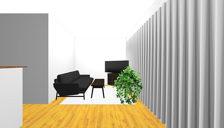 黒の家具をコーディネートした横長リビング