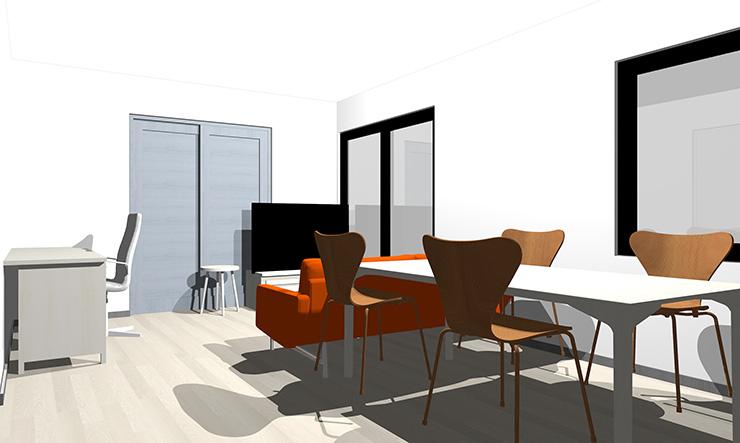 ブルーグレーとオレンジのソファ
