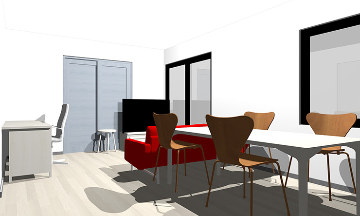 ブルーグレーと赤のソファ