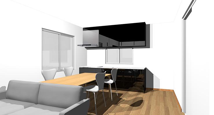 ブラウン・ミディアムブラウンの床と黒のキッチン