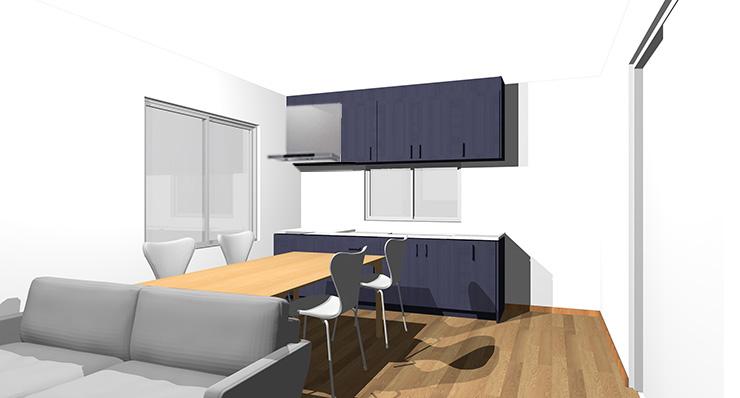 ブラウン・ミディアムブラウンの床とブルーのキッチン