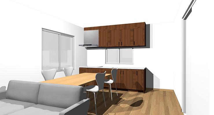ブラウンの床とダークヴラウンの扉のキッチン