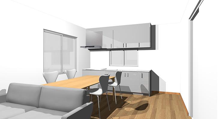 ブラウンの床とグレーのキッチン