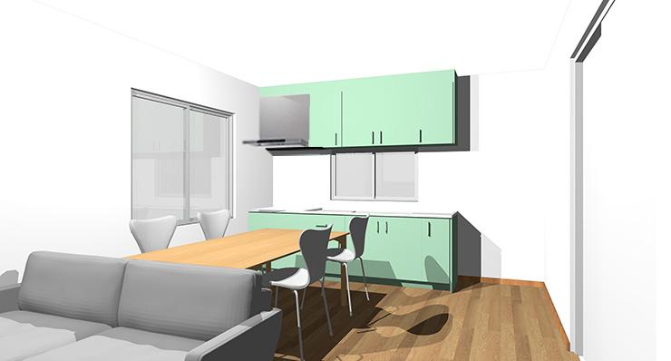 ブラウン・ミディアムブラウンの床とグリーンのキッチン