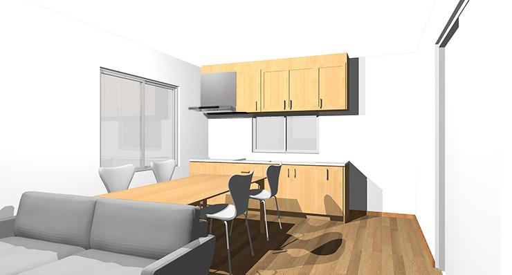 ブラウンの床とライトブラウンのキッチン
