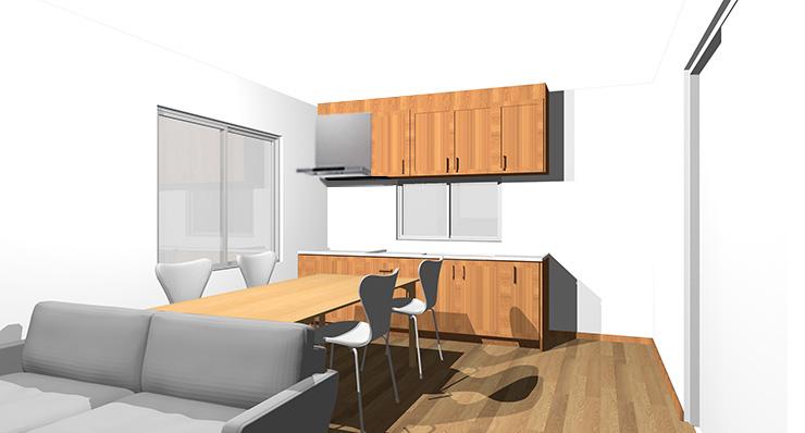 ブラウンの床と茶色の木目のキッチン