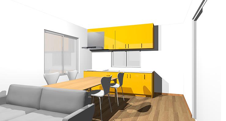 ブラウン・ミディアムブラウンの床とオレンジのキッチン