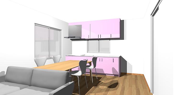 ブラウン・ミディアムブラウンの床とピンクのキッチン