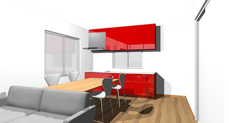 ブラウン・ミディアムブラウンの床と赤のキッチン