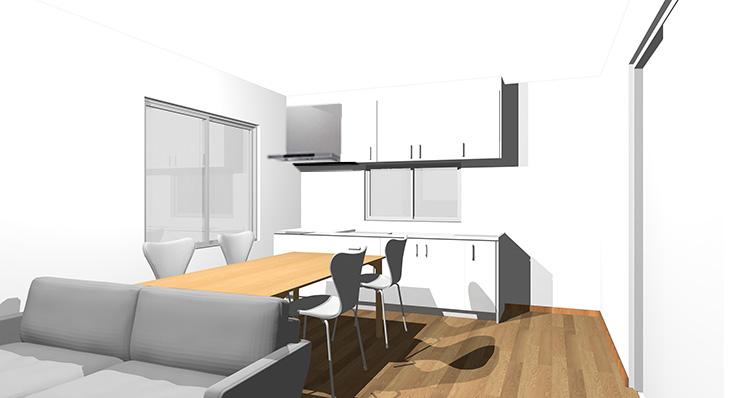 ブラウン・ミディアムブラウンの床とホワイトのキッチン